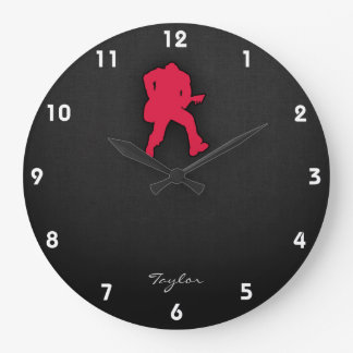 Crimson Red Guitar Player Large Clock