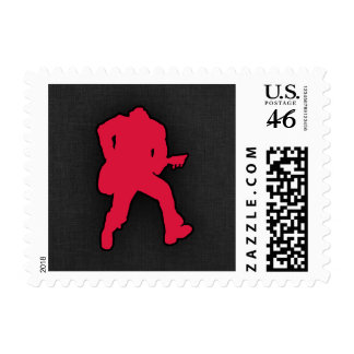 Crimson Red Guitar Player Stamps