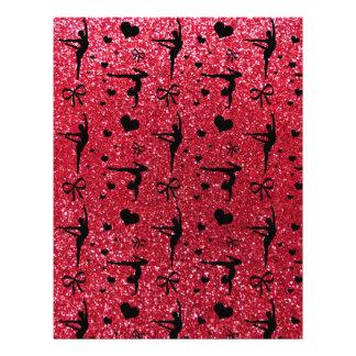 Crimson red gymnastics glitter pattern flyers