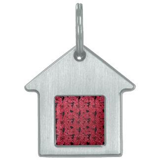 Crimson red gymnastics glitter pattern pet ID tags