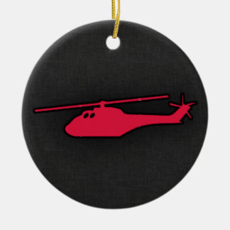 Crimson Red Helicopter Double-Sided Ceramic Round Christmas Ornament