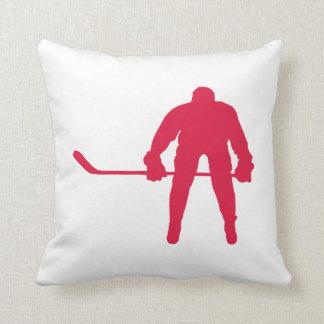 Crimson Red Hockey Throw Pillows