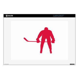"Crimson Red Hockey Decals For 15"" Laptops"