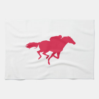Crimson Red Horse Racing Kitchen Towel