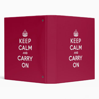 Crimson Red Keep Calm and Carry On 3 Ring Binder