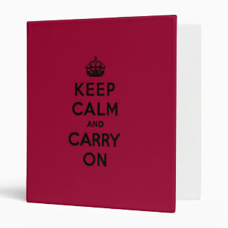 Crimson Red Keep Calm and Carry On (black) Binder