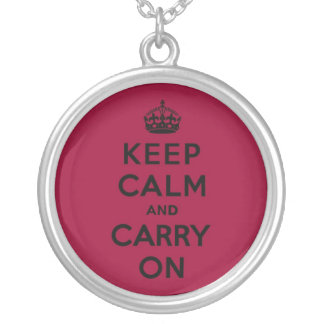 Crimson Red Keep Calm and Carry On (black) Round Pendant Necklace