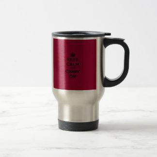 Crimson Red Keep Calm and Carry On (black) Travel Mug