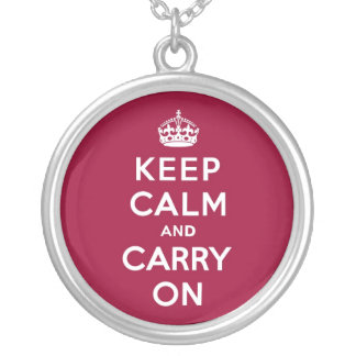 Crimson Red Keep Calm and Carry On Round Pendant Necklace