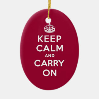 Crimson Red Keep Calm and Carry On (white text) Ceramic Ornament