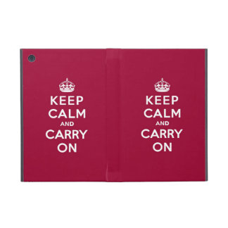 Crimson Red Keep Calm and Carry On (white text) Cover For iPad Mini