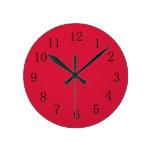 Crimson Red Kitchen Wall Clock at Zazzle