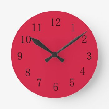 Crimson Red Kitchen Wall Clock by Red_Clocks at Zazzle