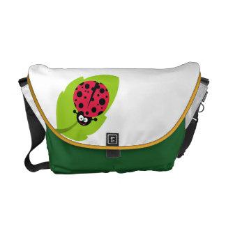 Crimson Red Ladybug Messenger Bags