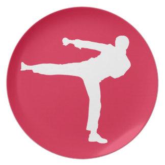 Crimson Red Martial Arts Party Plates