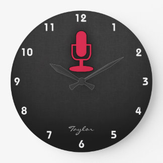 Crimson Red Microphone Large Clock