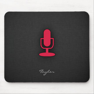 Crimson Red Microphone Mouse Pad