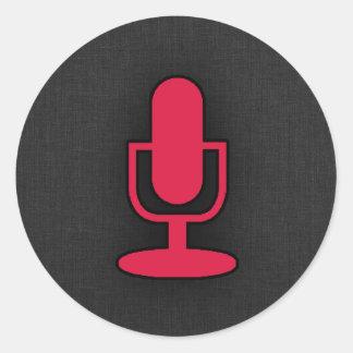 Crimson Red Microphone Classic Round Sticker