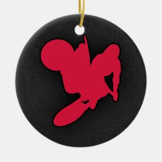 Crimson Red Motocross Ceramic Ornament