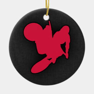 Crimson Red Motocross Double-Sided Ceramic Round Christmas Ornament