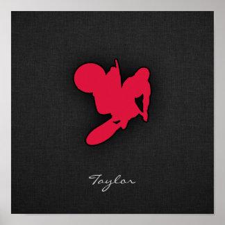 Crimson Red Motocross Poster
