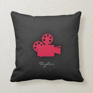 Crimson Red Movie Camera Throw Pillow