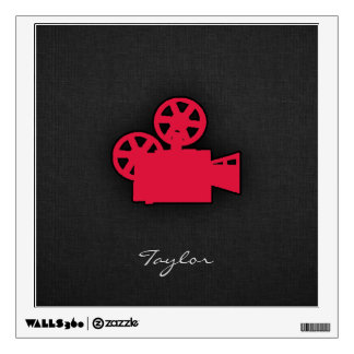 Crimson Red Movie Camera Wall Sticker