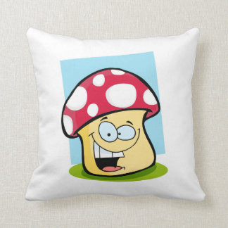 Crimson Red Mushroom Throw Pillow