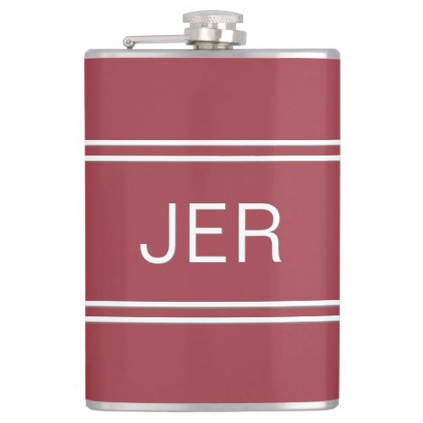 Crimson Red Personalized Monogram Initials Drink Flask