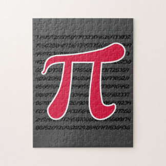 Crimson Red Pi Symbol Jigsaw Puzzle