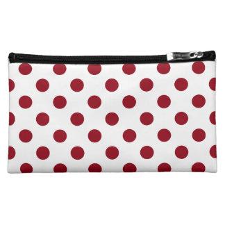 Crimson Red Polka Dots Circles Cosmetic Bag