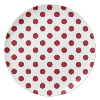 Crimson Red Polka Dots Circles Dinner Plate