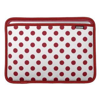Crimson Red Polka Dots Circles MacBook Air Sleeves