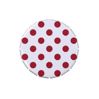 Crimson Red Polka Dots Circles Jelly Belly Candy Tins