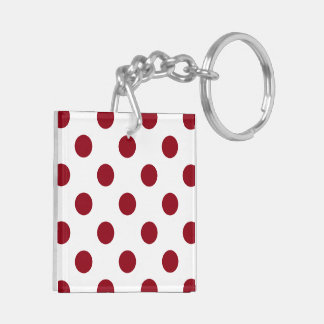 Crimson Red Polka Dots Circles Keychain