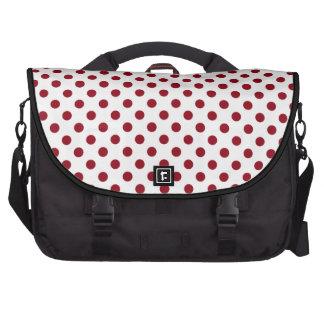 Crimson Red Polka Dots Circles Laptop Messenger Bag