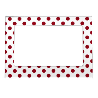 Crimson Red Polka Dots Circles Picture Frame Magnet