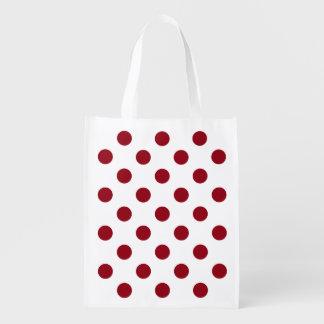 Crimson Red Polka Dots Circles Market Totes