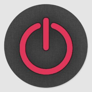 Crimson Red Power Button Classic Round Sticker