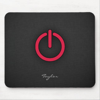 Crimson Red Power Button Mouse Pad