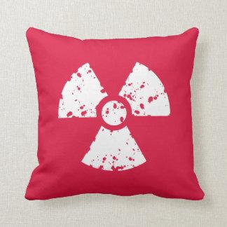 Crimson Red Radioactive Symbol Throw Pillow