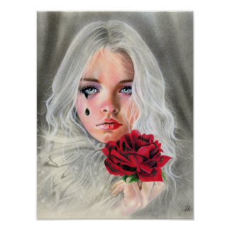 Crimson Red rose gothic girl mime POSTER