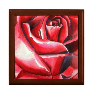 Crimson Red Rose original watercolor art painting Gift Box
