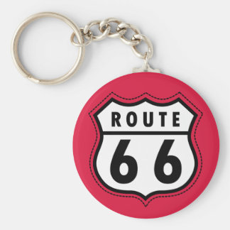 Crimson Red Route 66 Road Sign Basic Round Button Keychain