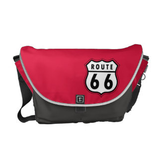 Crimson Red Route 66 Road Sign Messenger Bags