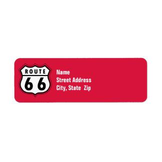 Crimson Red Route 66 Road Sign Return Address Label
