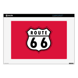 Crimson Red Route 66 Road Sign Skins For Laptops