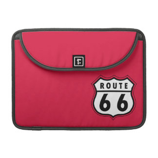 Crimson Red Route 66 Road Sign Sleeve For MacBooks