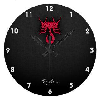 Crimson Red Scorpio Large Clock