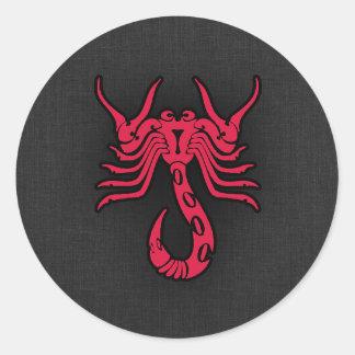 Crimson Red Scorpio Classic Round Sticker